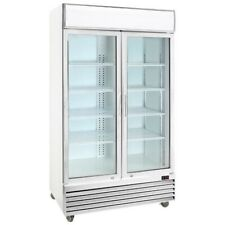 COMMERCIAL 2 TWO GLASS DOOR DRINK FRIDGE DISPLAY SHOWCASE UPRIGHT CHILLER WHITE