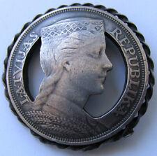 Latvia 5 LATI 1932 Sterling SILVER Coin 23.8g Brooch JEWELRY Broach LATVIJAS Art