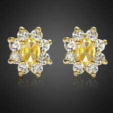 Xmas Fashion Jewelry 1 Citrine Fine Clear Topaz Yellow Gold Plated Stud Earrings