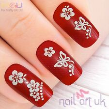 White 3D Butterfly Flower Rhinestone Adhesive Nail Stickers Decals Art 01.02.070
