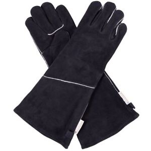 Stovax Extra LONG Stove Gloves / 100% Leather / Heat Resistant / Wood Burning