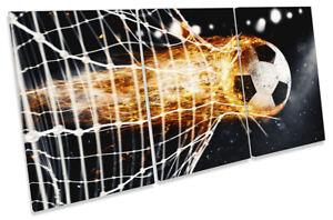 Football Goal Soccer Picture CANVAS WALL ART TREBLE Print Black
