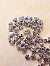 Schmuckzubehör Basteln * 50 Herz Metall Perlen ♥ Beads Spacer * Silberfarben