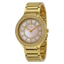 Brand New Michael Kors Women Kerry Gold Tone Pink MOP Dial Glitz Watch MK3396