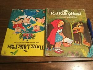 LITTLE RED RIDING HOOD two in one WONDER BOOK Three little pigs JACKIE PELLER