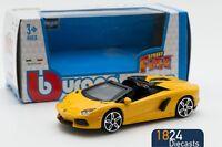 Lamborghini Aventador Roadster in Yellow, Bburago 18-30249, scale 1:43, toy car