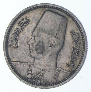 SILVER Roughly the Size of a Dime 1937 Egypt 2 Qirsh World Silver Coin *942