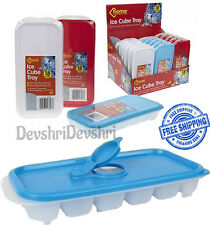 1x Ice Cube Tray With Lid & Easy To Pour Fill Section - 18 Cubes *NO MORE SPILL*