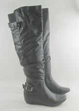"new Blacks 1.5"" hidden wedge heel  round toe sexy long knee boot Size. 8"