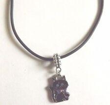 collier cordon caoutchouc noir 45,5 cm avec pendentif chat noir