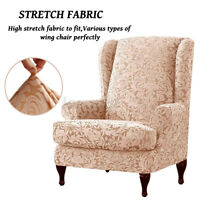 2Pc Stretch Wing Chair Cover Slipcover Wingback Armchair Home Furniture