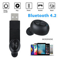Single Bluetooth Headsets Earbuds Headphones Noise Cancelling For iPhone Samsung