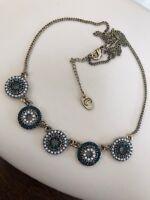Vintage Blue Rhinestones Micro Perl Delicate Pendant Necklace