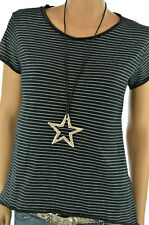 ITALY T-Shirt Allover Print Basic Hemd Schwarz/Weiß gestreift 36 38 40 NEU