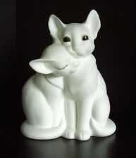 White Bisque Bone China Figurine of Cuddling Cats by Freeman for George Good