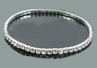 Stretchy Crystal Anklet Single Row Silver  23CM UNSTRETCHED  UK SELLER