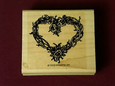 Stampin' Up 1992 Roses Heart flowers vine stamp Love Valentine wood Rubber Stamp