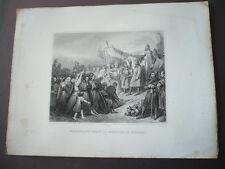 GRAVURE 1880 CHARLEMAGNE RECOIT LA SOUMISSION DE WITIKIND 785