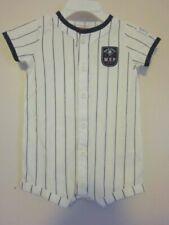 Carter's Boy's 100% Cotton Summer Striped Shortall w/ Baseball Logo~6 Mo.~NWTS