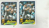 FREE SHIPPING-MINT-1989 Topps #223 Jay Buhner Seattle Mariners Baseball -2 CARDS