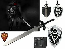 Dark Link Hylian Legend of Zelda Shield and Black Master Sword Set Ocarina time