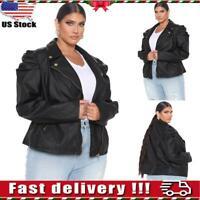 Plus Size Womens Leather Biker Jacket Ladies Winter Slim Fit Blazer Coat Outwear