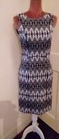 H&M BLACK AND WHITE PENCIL DRESS SZ 10 12 STRETCHY REAR ZIP FASTENING NEW