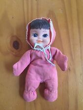 Vintage 1960s Floppy Tots Bean Bag Fun-World Small Baby Doll Coral Pink Outfit