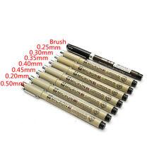 8pcs Micron Fine Liner Drawing Ink Pens Brush Art Write Sketching Set 0.2-0.5 mm