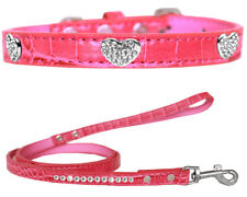 Faux Croc Leather Crystal Heart Dog Collars and Leash Combo