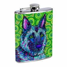 Dog Art Em2 Flask 8oz Stainless Steel Hip Drinking Whiskey