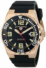Swiss Legend Men's Rose Gold Steel Case Black Strap Quartz Watch 10008-RG-01-BB
