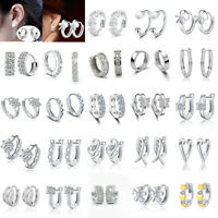 Genuine 925 Sterling Silver Crystal Stud Hoop Earrings Fashion Women Xmas Gifts