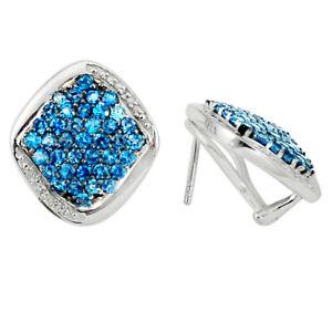 Natural London Blue Topaz 925 Sterling Silver Stud Earrings Jewelry D5538
