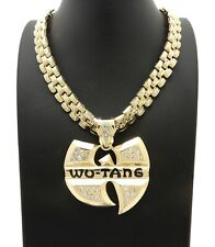 "Hip Hop Iced Gold Plated WU-TANG Pendant & 13mm 24"" Thank Chain Bling Necklace"