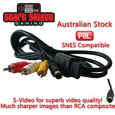 PAL SNES S Video RCA S-AV Cable Lead for Super Nintendo Consoles BRAND NEW