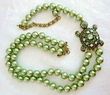 HEIDI DAUS 'Simply Irresistable' Turtle Necklace Swarovski Chrystals Sim Pearls