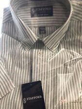 Men's NEW size 14 1/2 Stafford Oxford White and Green Short Sleeve Dress Shirt