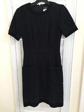 Chanel Women Uniform Dress Black Short Sleeves Cotton Blend Sz 36 AuthenticNice