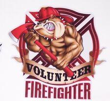 Volunteer Firefighter Bulldog sticker graphic decal window golf cart Fire Fight