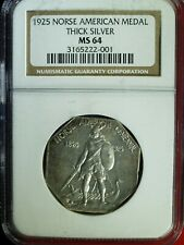 1925 Norse American Medal - thick silver - MS-64 (NGC) stk#2001