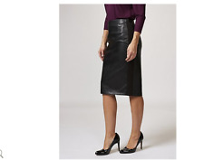 Neues AngebotRuth Langsford Faux Leather Pencil Skirt Ponte Side Panels Black Size 16 New