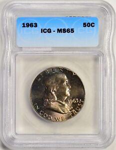 1963 50c Franklin Silver Half Dollar Beautiful Toning ICG MS65