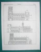 ARCHITECTURE Gothic Cathedrals Ulm Freiburg Strasbourg - 1825 Antique Print