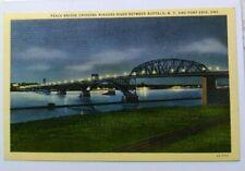 Woven linen 1935 Night View of Peace Bridge across Niagara River, NY to Ontario