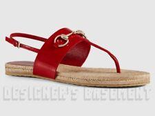 GUCCI red 37.5 Patent Leather RAFFIA gold HORSEBIT thong sandals NIB Authen $440
