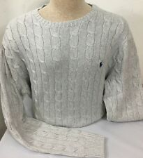 Ralph Lauren Cable Knit Sweater Mens 3XLT Big and Tall Gray Blue Pony Cotton New