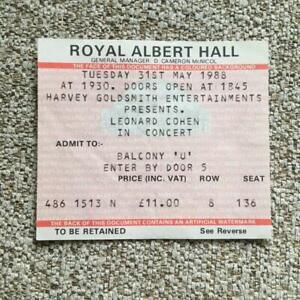Leonard Cohen ticket  Royal Albert Hall 31/05/88 #136