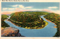 HORSE SHOE BEND ----- HAWKS NEST ON NEW RIVER------CANYON WEST VIRGINIA POSTCARD