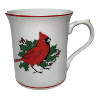 Vintage Colonial Candle Hart Cardinal Mug Red Bird Porcelain Ceramic Christmas